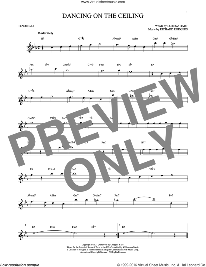 Dancing On The Ceiling sheet music for tenor saxophone solo by Rodgers & Hart, Lorenz Hart and Richard Rodgers, intermediate skill level