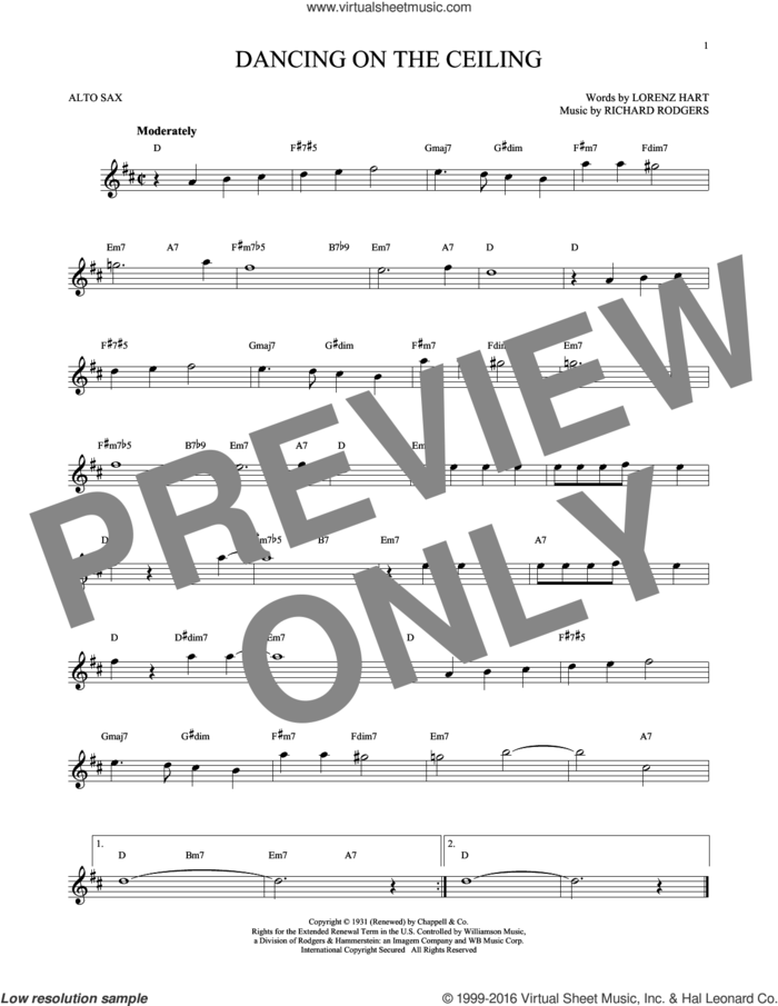 Dancing On The Ceiling sheet music for alto saxophone solo by Rodgers & Hart, Lorenz Hart and Richard Rodgers, intermediate skill level