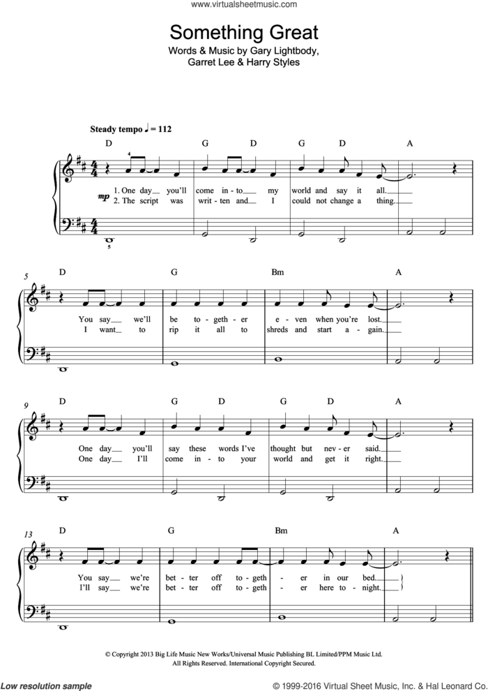 Something Great sheet music for voice, piano or guitar by One Direction, Garret Lee, Gary Lightbody and Harry Styles, intermediate skill level