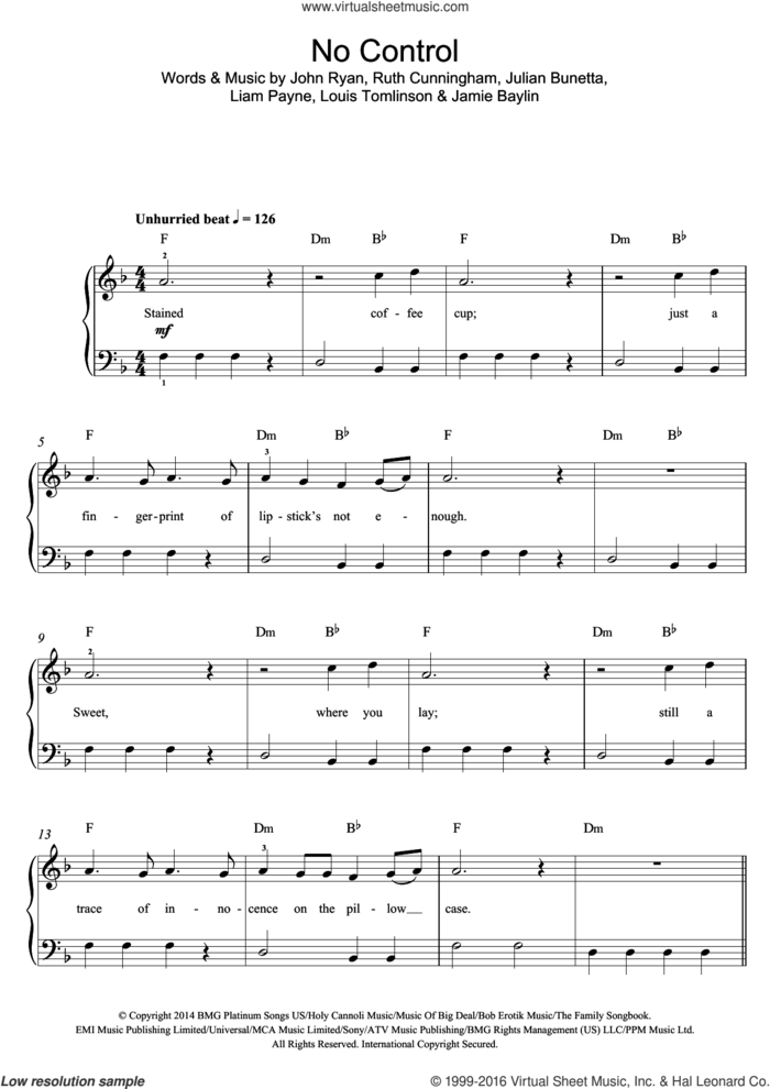 No Control sheet music for voice, piano or guitar by One Direction, Jamie Baylin, John Ryan, Julian Bunetta, Liam Payne, Louis Tomlinson and Ruth Cunningham, intermediate skill level