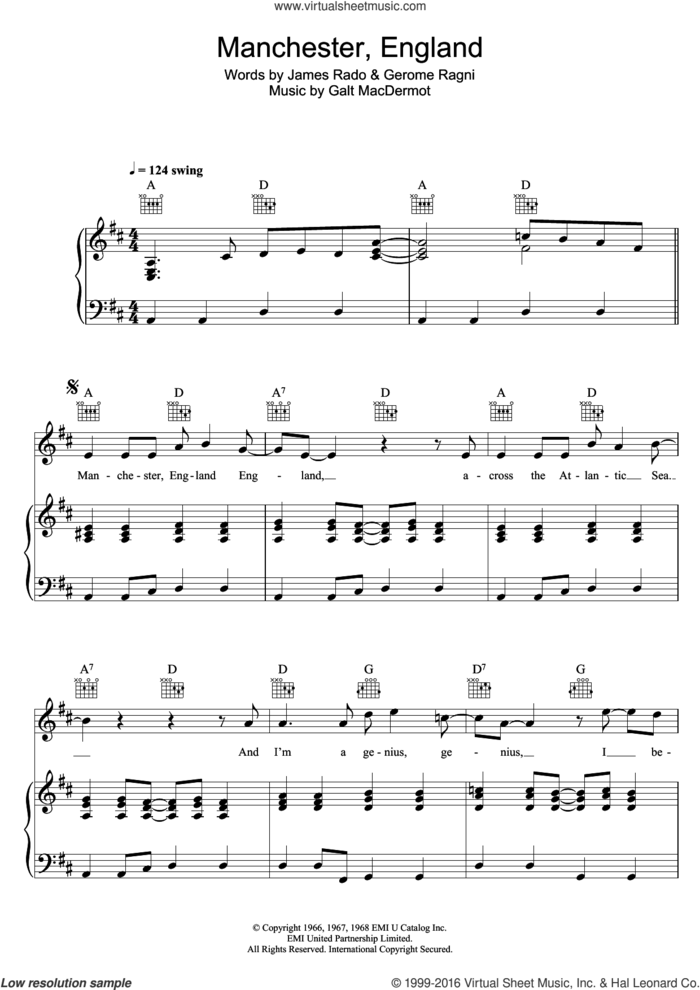 Manchester, England (from 'Hair') sheet music for voice, piano or guitar by Galt MacDermot, Gerome Ragni and James Rado, intermediate skill level