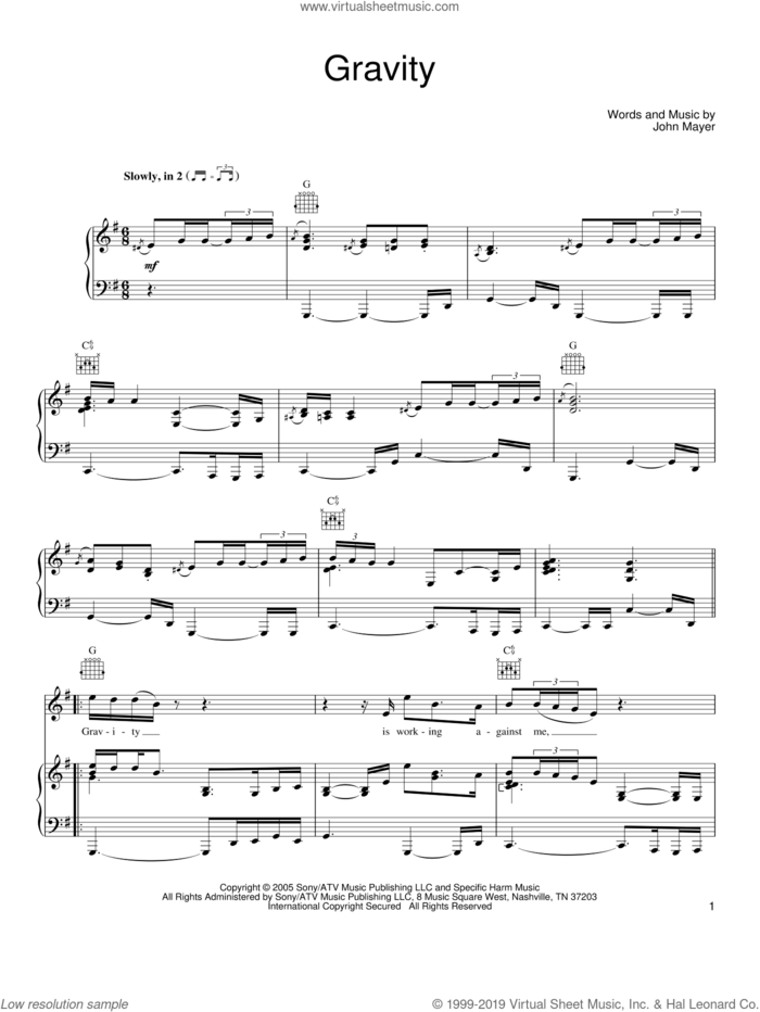 Gravity sheet music for voice, piano or guitar by John Mayer, intermediate skill level