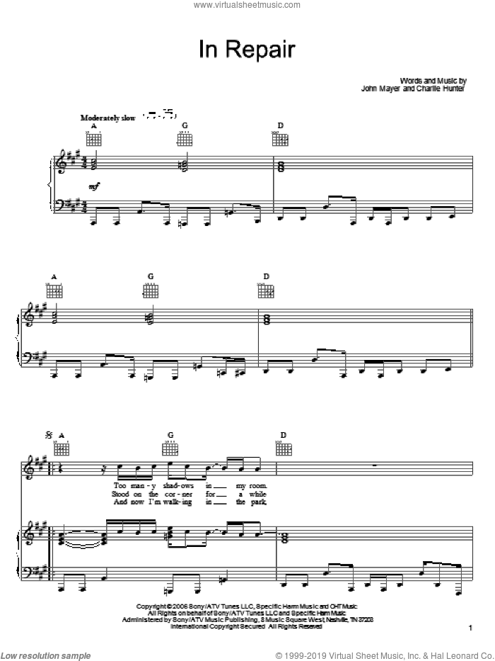 In Repair sheet music for voice, piano or guitar by John Mayer and Charlie Hunter, intermediate skill level