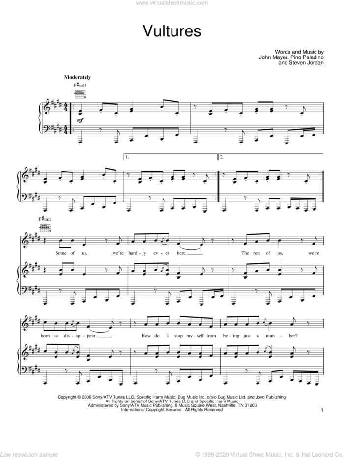 Vultures sheet music for voice, piano or guitar by John Mayer, Pino Paladino and Steve Jordan, intermediate skill level