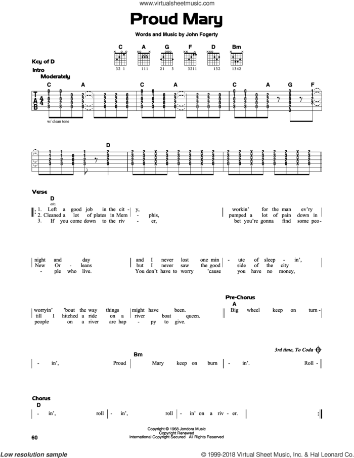 Proud Mary sheet music for guitar solo (lead sheet) by Creedence Clearwater Revival and John Fogerty, intermediate guitar (lead sheet)