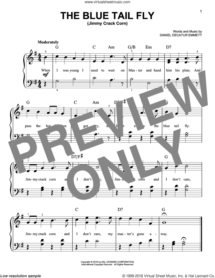 The Blue Tail Fly (Jimmy Crack Corn) sheet music for piano solo by Daniel Decatur Emmett, easy skill level