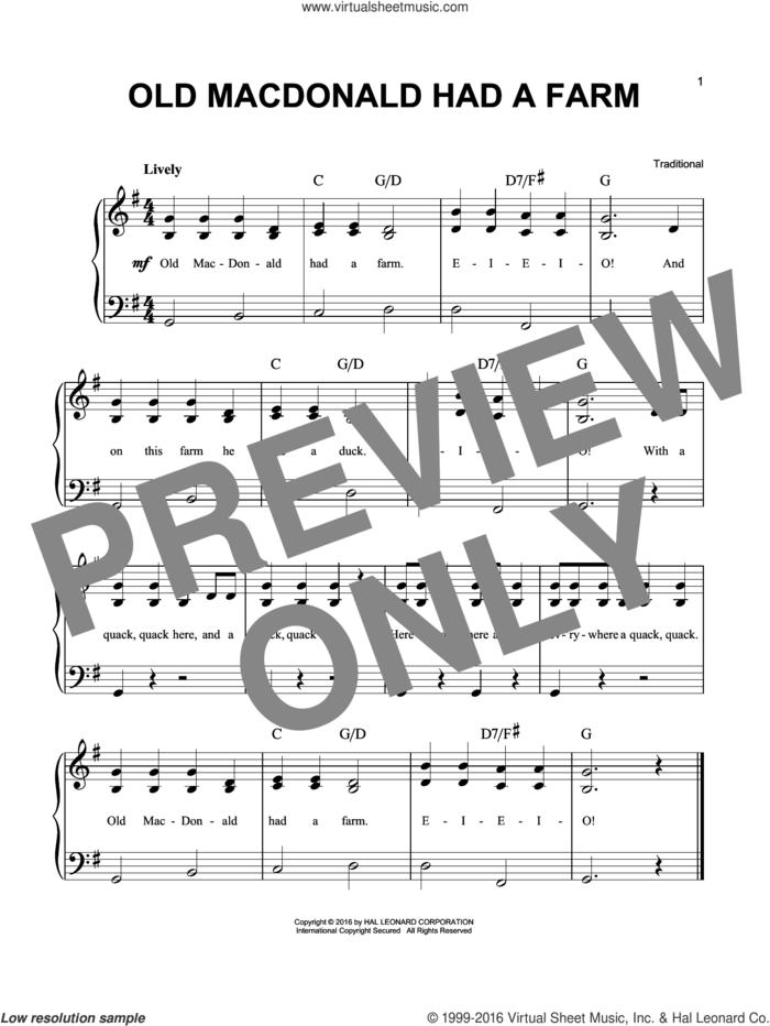 Old Macdonald Had A Farm sheet music for piano solo, easy skill level