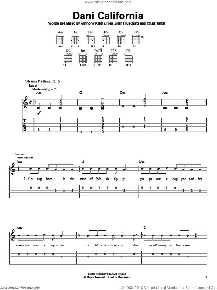 Dani California sheet music for guitar solo (easy tablature) by Red Hot Chili Peppers, Anthony Kiedis, Chad Smith, Flea and John Frusciante, easy guitar (easy tablature)