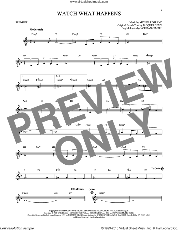Watch What Happens sheet music for trumpet solo by Norman Gimbel and Michel LeGrand, intermediate skill level