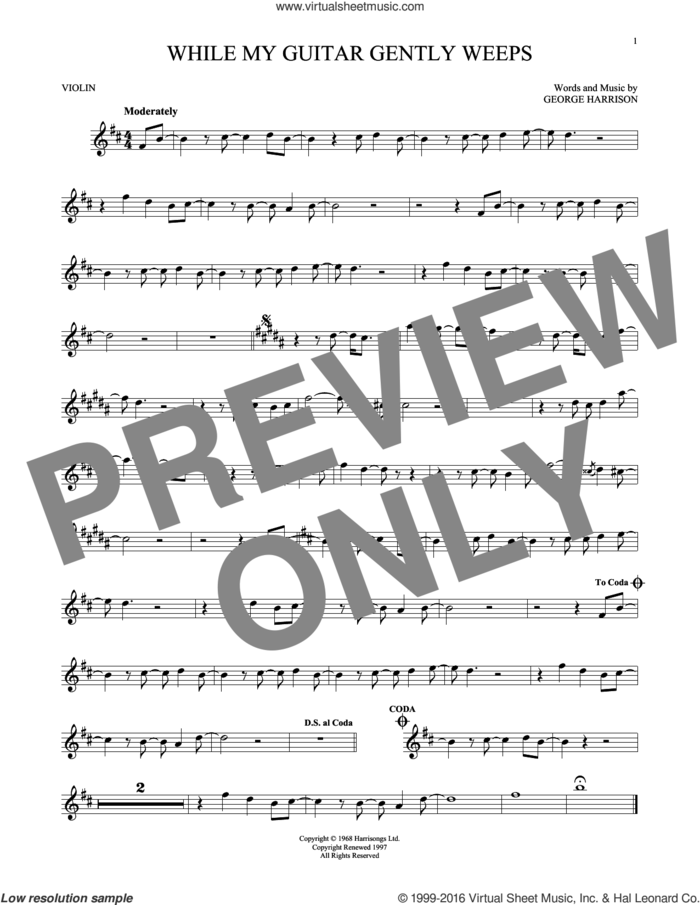 While My Guitar Gently Weeps sheet music for violin solo by The Beatles, intermediate skill level