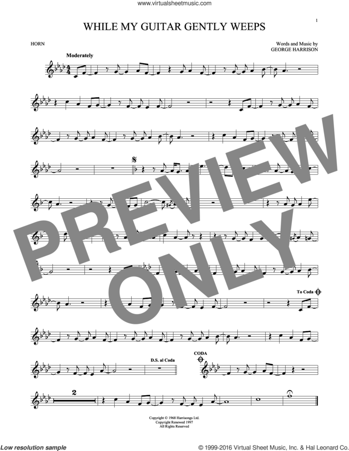While My Guitar Gently Weeps sheet music for horn solo by The Beatles, intermediate skill level