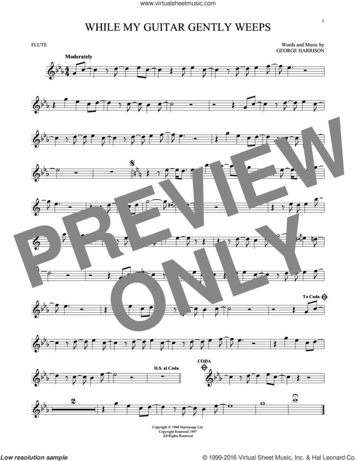 While My Guitar Gently Weeps sheet music for flute solo by The Beatles, intermediate skill level