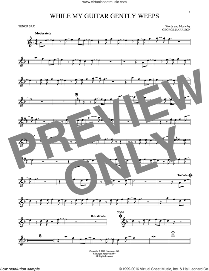 While My Guitar Gently Weeps sheet music for tenor saxophone solo by The Beatles, intermediate skill level