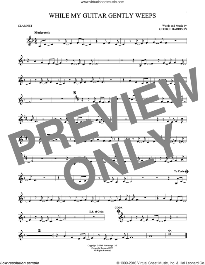 While My Guitar Gently Weeps sheet music for clarinet solo by The Beatles, intermediate skill level