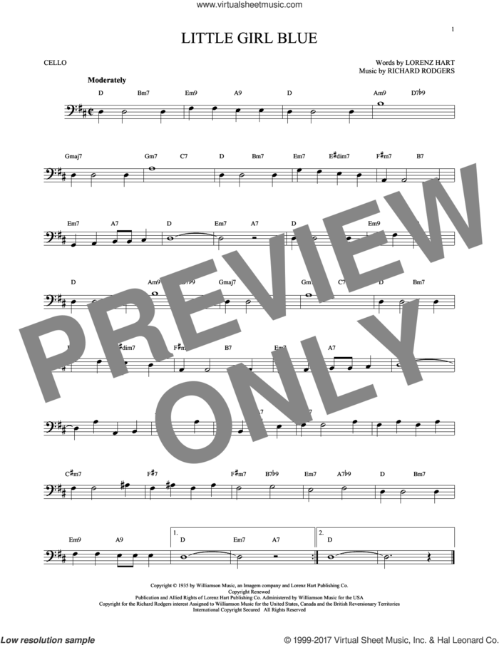 Little Girl Blue sheet music for cello solo by Rodgers & Hart, Lorenz Hart and Richard Rodgers, intermediate skill level
