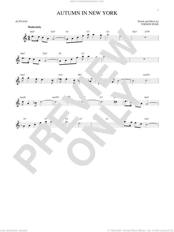 Autumn In New York sheet music for alto saxophone solo by Vernon Duke, Bud Powell and Jo Stafford, intermediate skill level