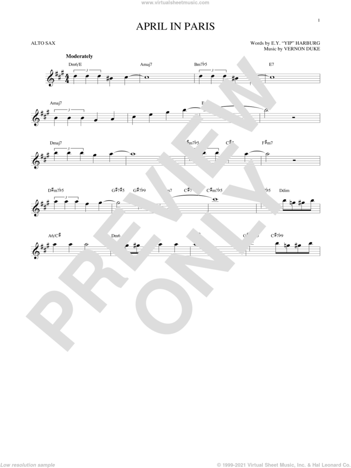 April In Paris sheet music for alto saxophone solo by E.Y. Harburg, Coleman Hawkins, Count Basie, Modernaires and Vernon Duke, intermediate skill level