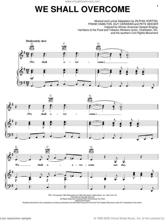 We Shall Overcome sheet music for voice, piano or guitar by Pete Seeger, Joan Baez, Frank Hamilton, Guy Carawan and Zilphia Horton, intermediate skill level
