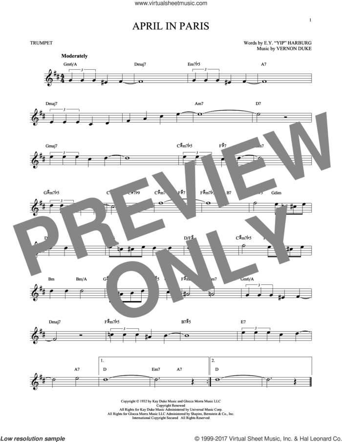 April In Paris sheet music for trumpet solo by E.Y. Harburg, Coleman Hawkins, Count Basie, Modernaires and Vernon Duke, intermediate skill level