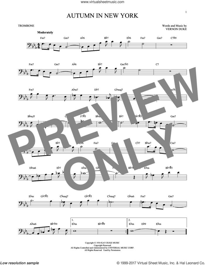 Autumn In New York sheet music for trombone solo by Vernon Duke, Bud Powell and Jo Stafford, intermediate skill level