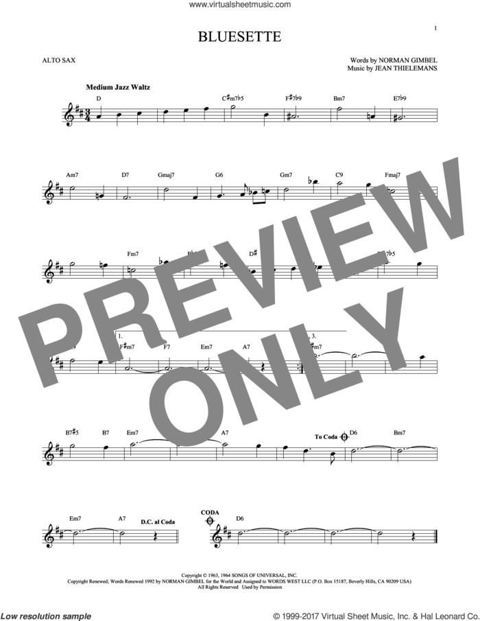 Bluesette sheet music for alto saxophone solo by Norman Gimbel, Sarah Vaughn, Jean Thielemans and Toots Thielmans, intermediate skill level