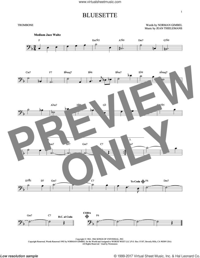 Bluesette sheet music for trombone solo by Norman Gimbel, Sarah Vaughn, Jean Thielemans and Toots Thielmans, intermediate skill level