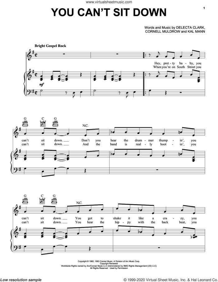You Can't Sit Down sheet music for voice, piano or guitar by The Dovells, Cornell Muldrow, Delecta Clark and Kal Mann, intermediate skill level
