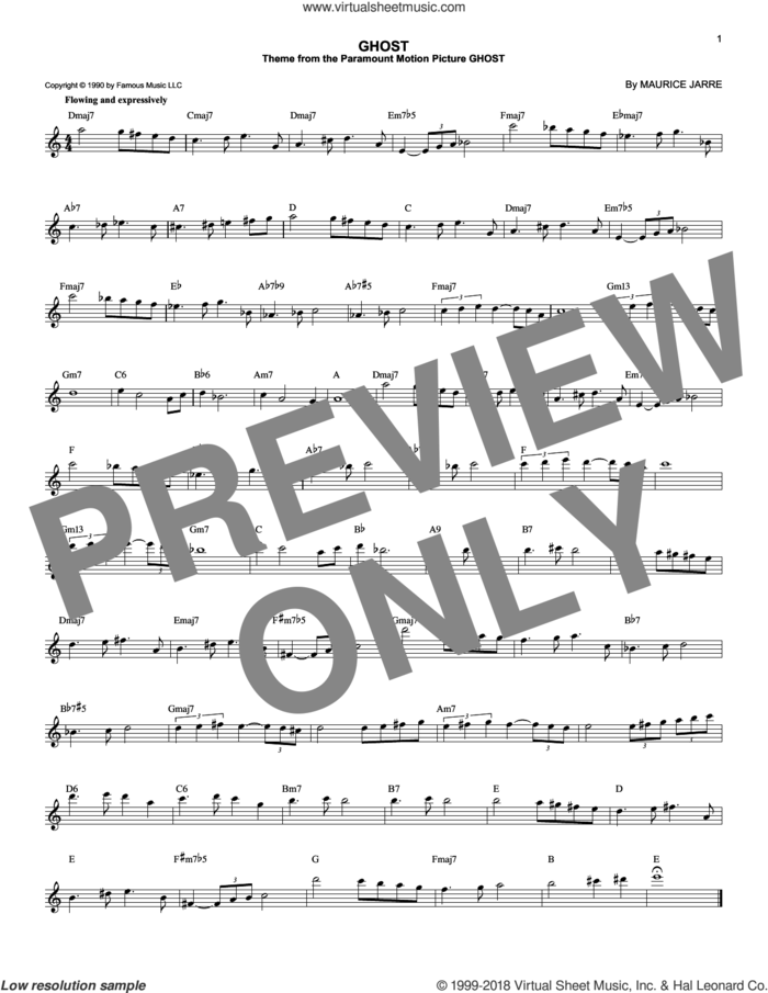 Ghost sheet music for voice and other instruments (fake book) by Maurice Jarre, intermediate skill level