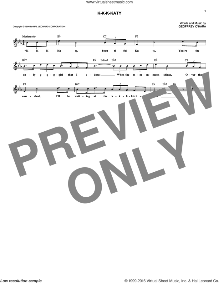 K-K-K-Katy sheet music for voice and other instruments (fake book) by Geoffrey O'Hara, intermediate skill level