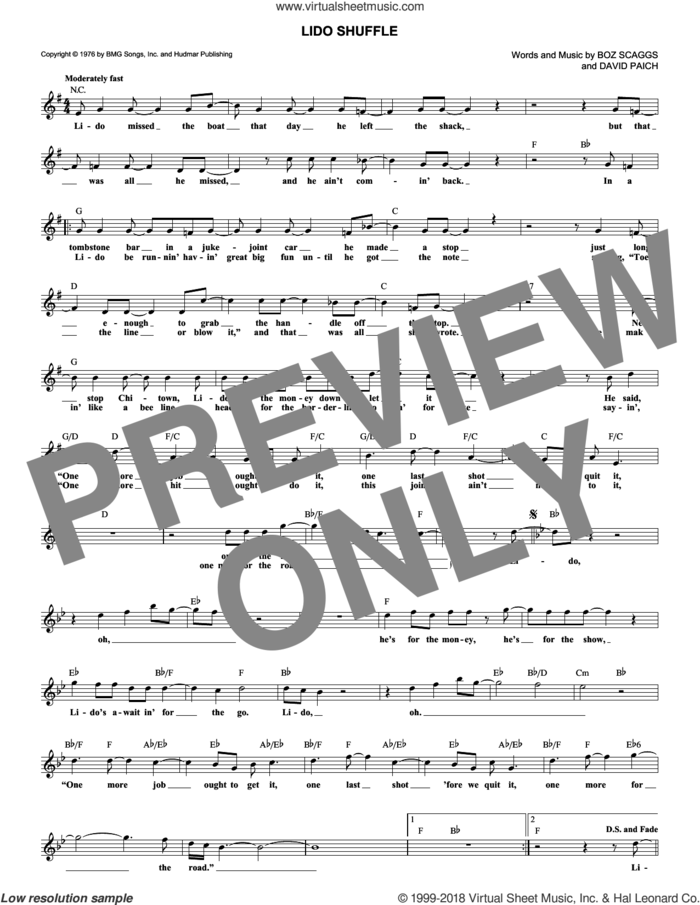 Lido Shuffle sheet music for voice and other instruments (fake book) by Boz Scaggs and David Paich, intermediate skill level