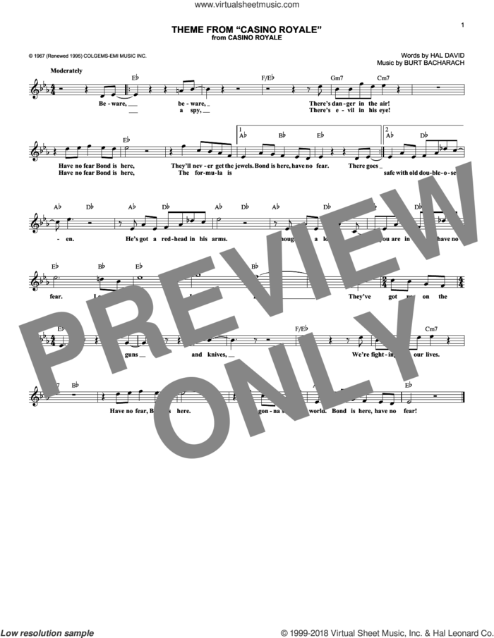 Theme From Casino Royale sheet music for voice and other instruments (fake book) by Burt Bacharach and Hal David, intermediate skill level