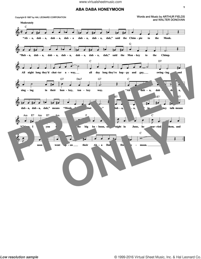 Aba Daba Honeymoon sheet music for voice and other instruments (fake book) by Walter Donovan and Arthur Fields, intermediate skill level
