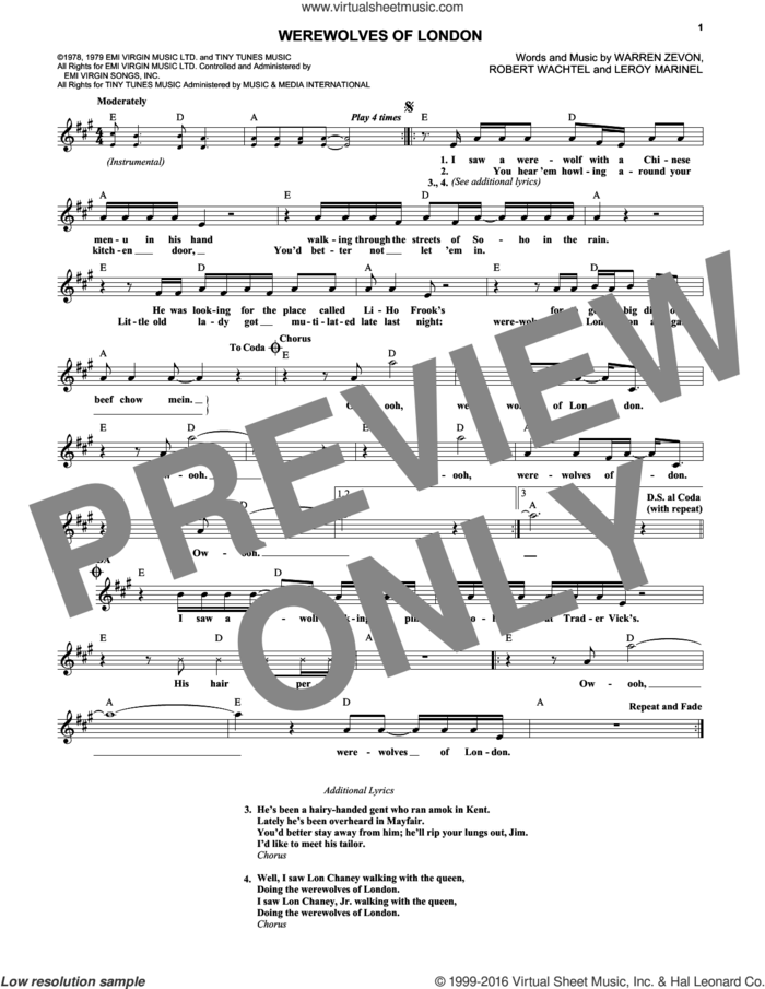 Werewolves Of London sheet music for voice and other instruments (fake book) by Warren Zevon, Leroy Marinell and Waddy Wachtel, intermediate skill level