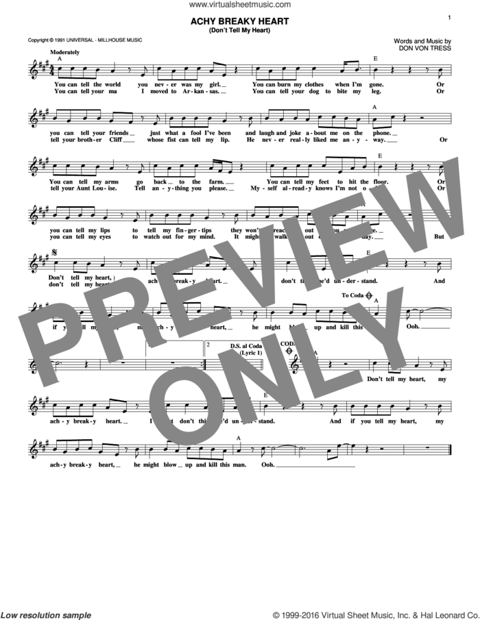 Achy Breaky Heart (Don't Tell My Heart) sheet music for voice and other instruments (fake book) by Billy Ray Cyrus and Don Von Tress, intermediate skill level