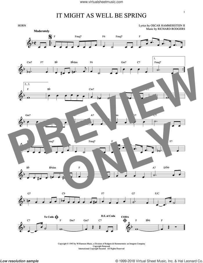 It Might As Well Be Spring sheet music for horn solo by Rodgers & Hammerstein, Oscar II Hammerstein and Richard Rodgers, intermediate skill level