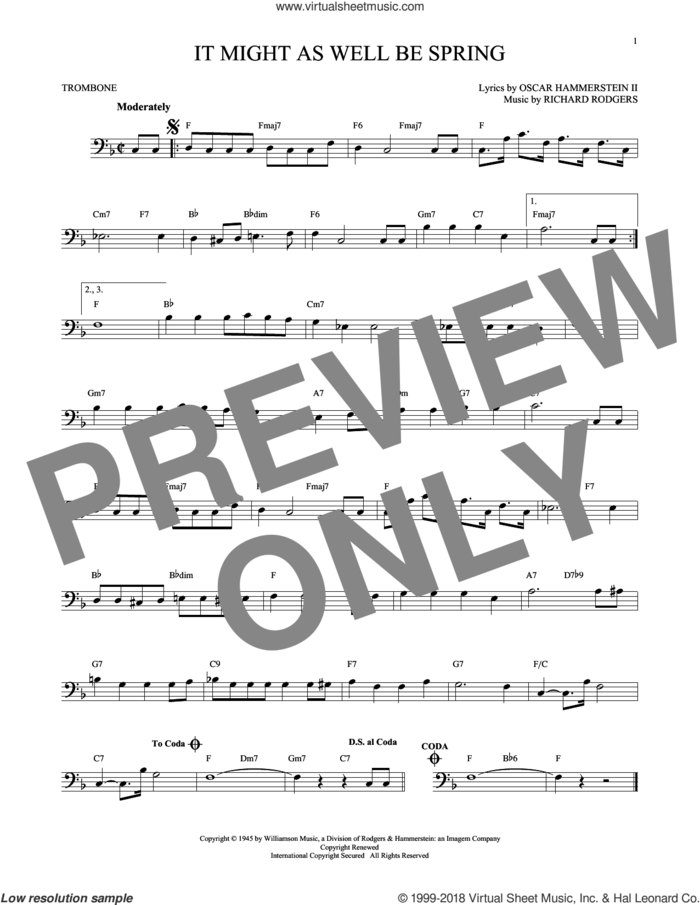 It Might As Well Be Spring sheet music for trombone solo by Rodgers & Hammerstein, Oscar II Hammerstein and Richard Rodgers, intermediate skill level
