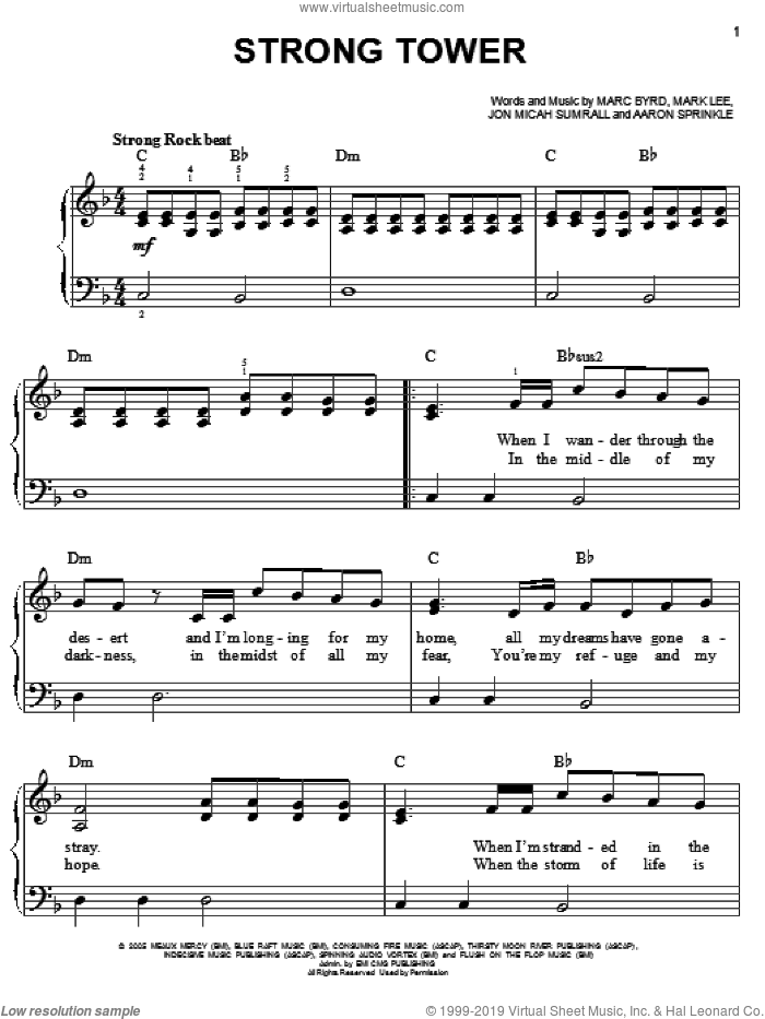 Strong Tower sheet music for piano solo by Kutless, Aaron Sprinkle, Jon Micah Sumrall, Marc Byrd and Mark Lee, easy skill level