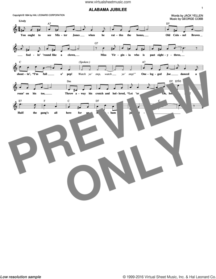 Alabama Jubilee sheet music for voice and other instruments (fake book) by Arthur Collins & Byron Harlan, Ferco String Band, George L. Cobb and Jack Yellen, intermediate skill level