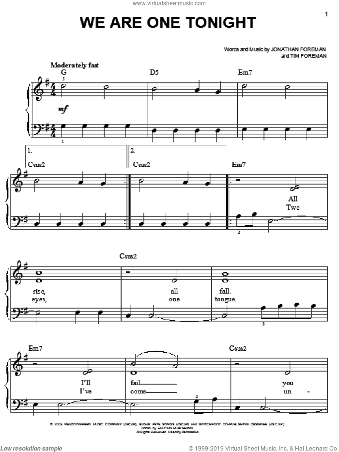 We Are One Tonight sheet music for piano solo by Switchfoot, Jonathan Foreman and Tim Foreman, easy skill level