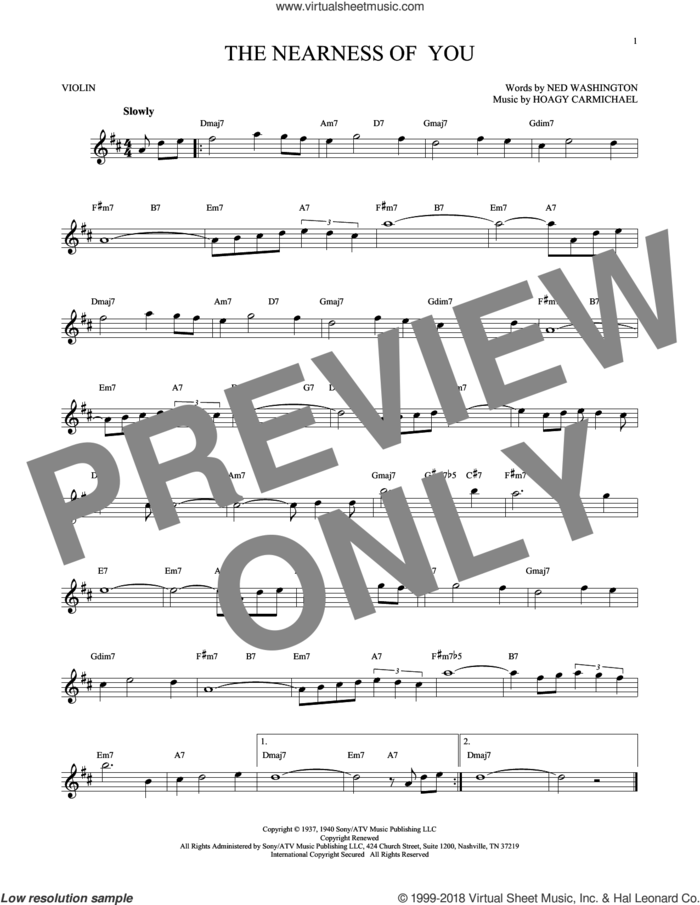 The Nearness Of You sheet music for violin solo by Hoagy Carmichael, George Shearing and Ned Washington, intermediate skill level