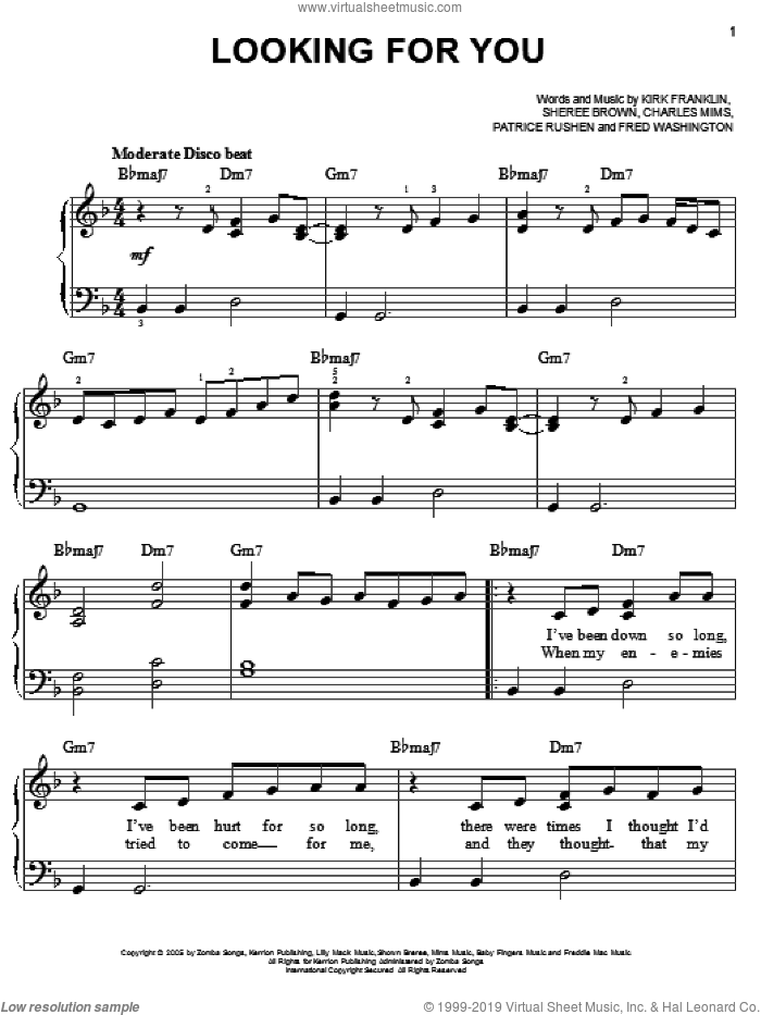 Looking For You sheet music for piano solo by Kirk Franklin, Charles Mims, Fred Washington, Patrice Rushen and Sheree Brown, easy skill level