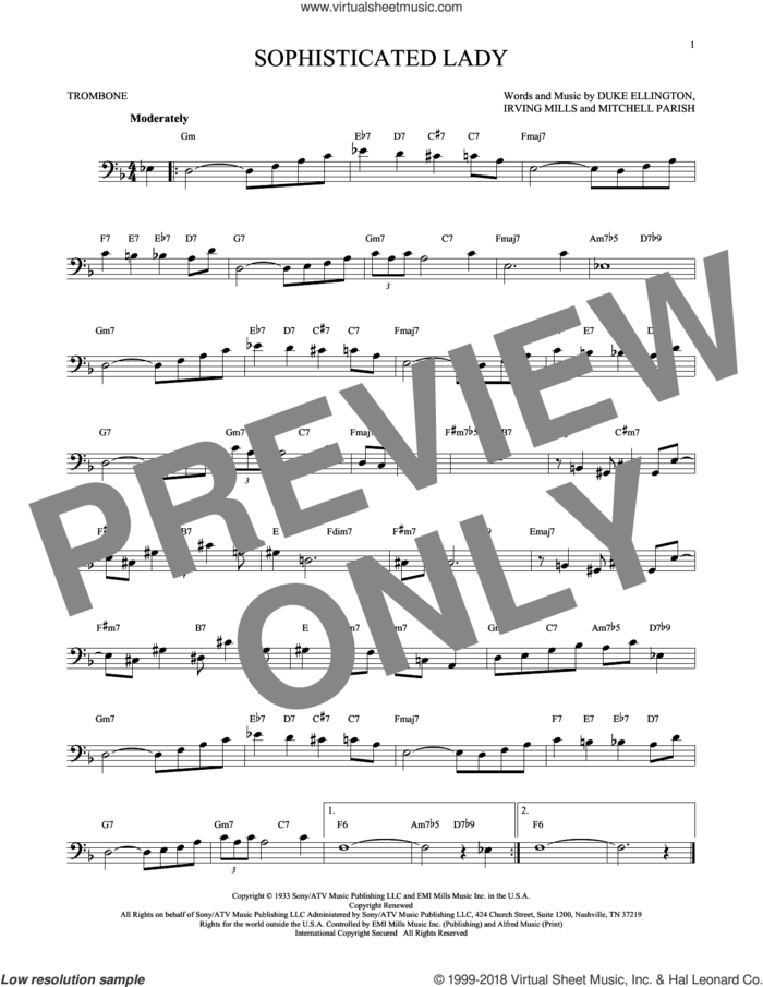 Sophisticated Lady sheet music for trombone solo by Duke Ellington, Irving Mills and Mitchell Parish, intermediate skill level