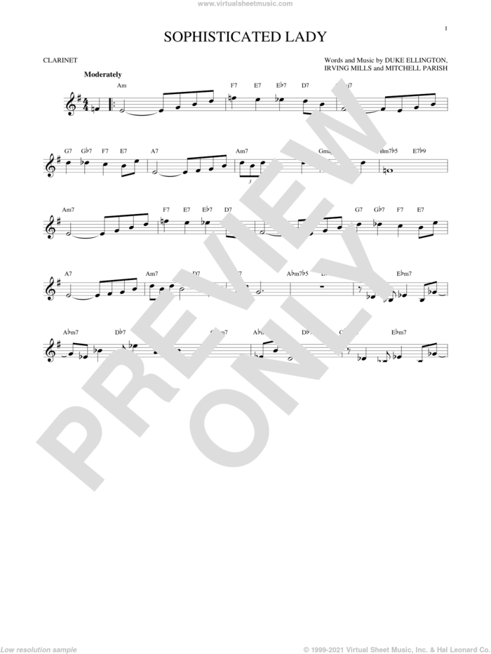 Sophisticated Lady sheet music for clarinet solo by Duke Ellington, Irving Mills and Mitchell Parish, intermediate skill level