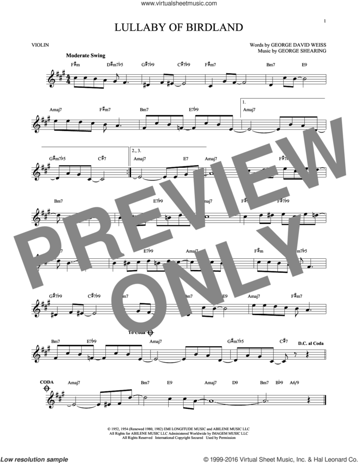 Lullaby Of Birdland sheet music for violin solo by George David Weiss and George Shearing, intermediate skill level