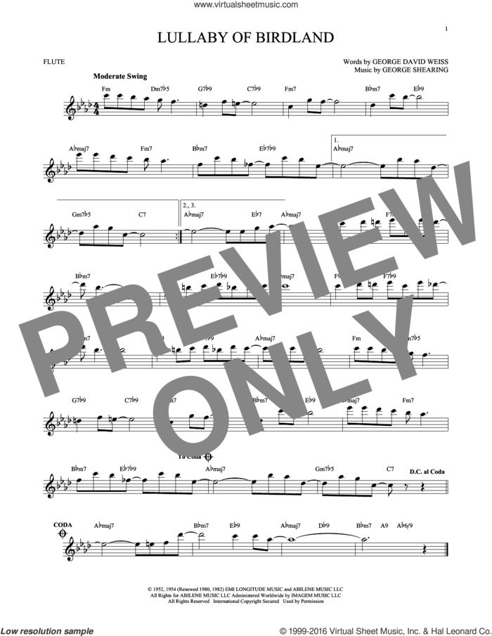 Lullaby Of Birdland sheet music for flute solo by George David Weiss and George Shearing, intermediate skill level
