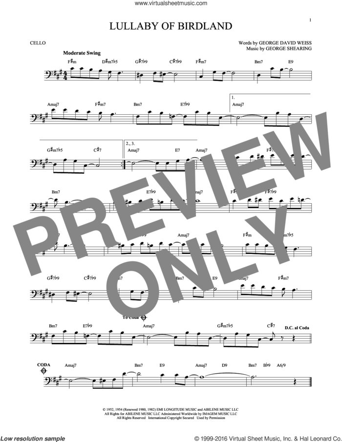 Lullaby Of Birdland sheet music for cello solo by George David Weiss and George Shearing, intermediate skill level