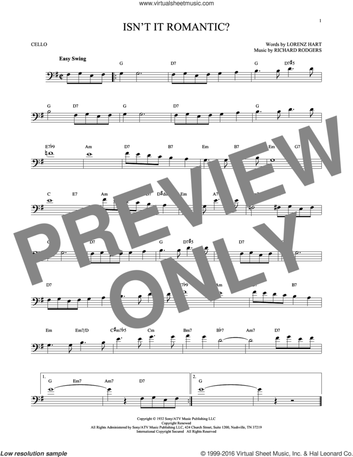 Isn't It Romantic? sheet music for cello solo by Rodgers & Hart, Shirley Horn, Lorenz Hart and Richard Rodgers, intermediate skill level