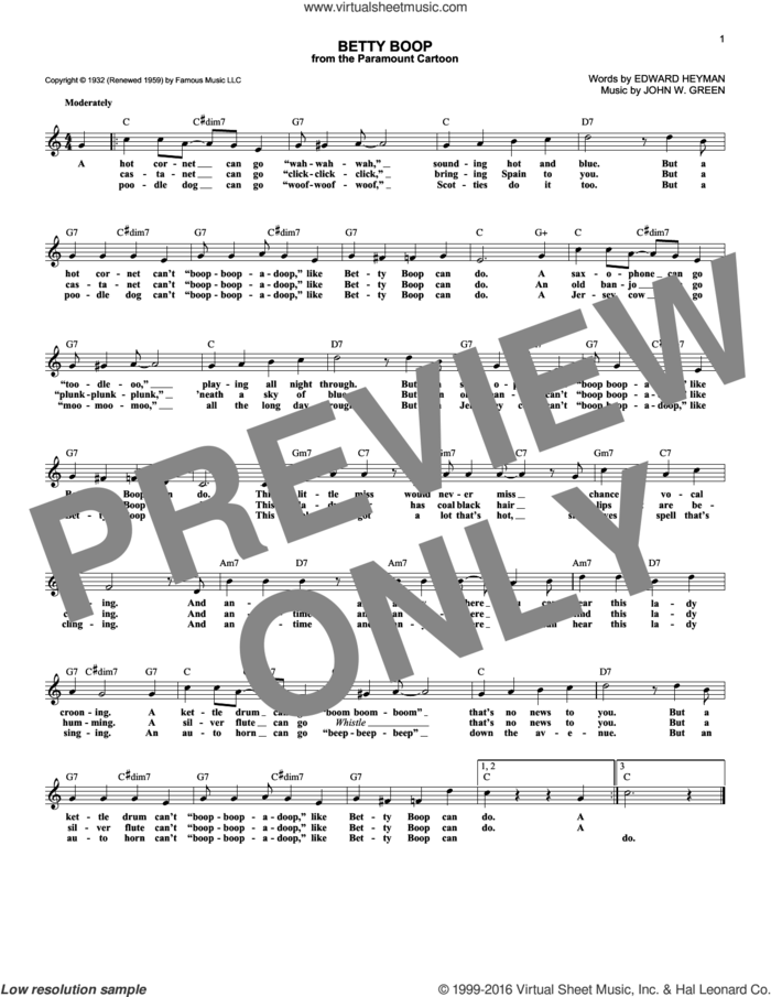 Betty Boop sheet music for voice and other instruments (fake book) by Edward Heyman and Johnny Green, intermediate skill level