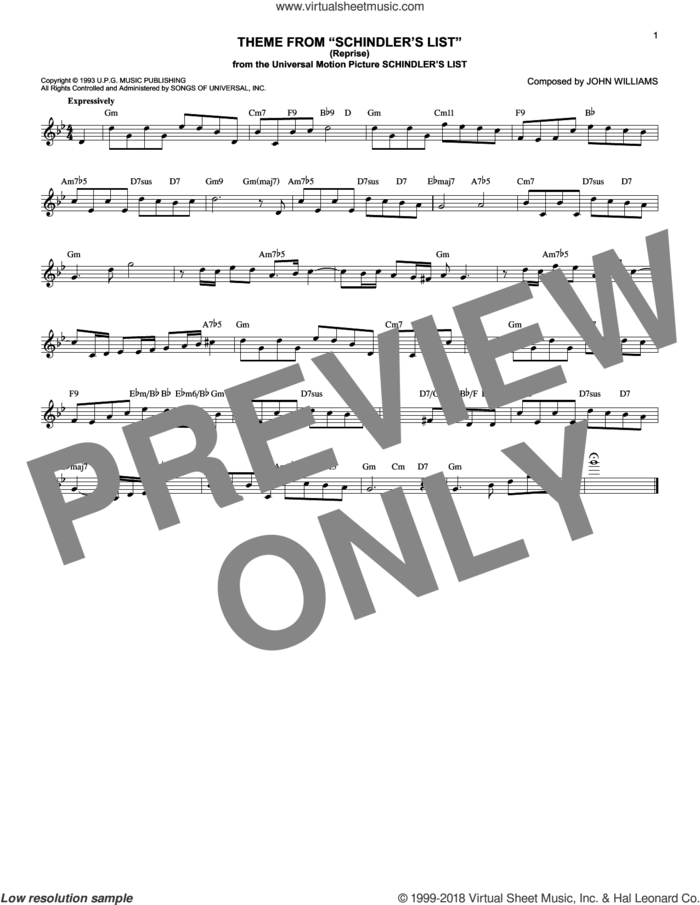 Theme From Schindler's List (Reprise) sheet music for voice and other instruments (fake book) by John Williams, intermediate skill level