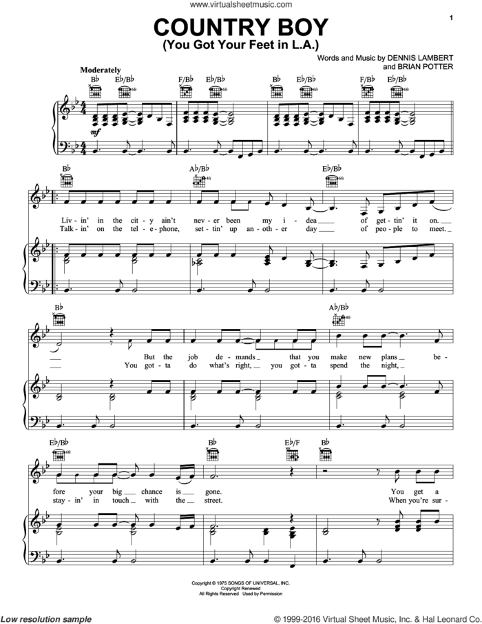 Country Boy (You Got Your Feet In L.A.) sheet music for voice, piano or guitar by Glen Campbell, Brian Potter and Dennis Lambert, intermediate skill level
